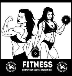 Womans fitness showing muscles - female fitness vector