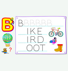 Worksheet for kids with letter rb for study vector