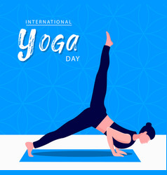 Yoga day card woman in meditation pose vector
