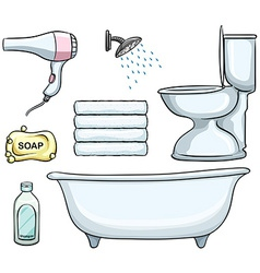 Bathroom objects vector image