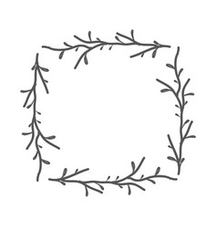 rustic square branches decoration vector image vector image