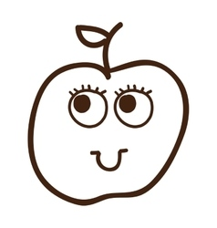 apple fruit character cute icon vector image