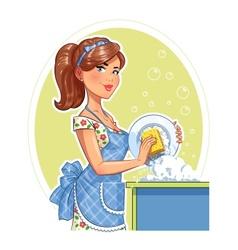 Beautiful girl washing plate vector image vector image