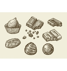 Chocolates Hand drawn sketch sweets caramel vector image vector image