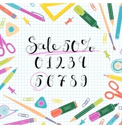 Discounts design for the sale of school stationery vector image vector image