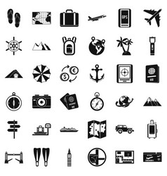 Hiking icons set simple style vector