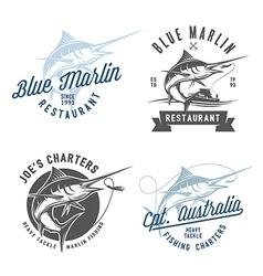 Marlin fishing emblems badges and design elements vector image vector image