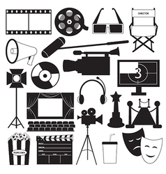 Movie icons collection vector image