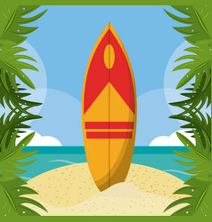 Summer beach in the seashore with surfboard and vector