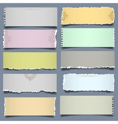 Ten notes paper in pastel colors vector image vector image