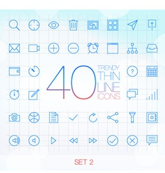 40 Trendy Thin Icons for web and mobile Set 2 vector image vector image