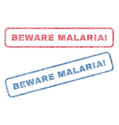 beware malaria exclamation textile stamps vector image
