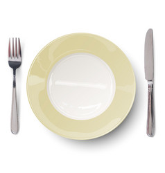 empty plate with ivory-colored design with knife vector image vector image