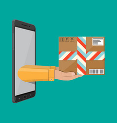Hands with postal cardboard box and smartphone vector