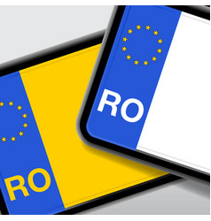 Romania number plate vector