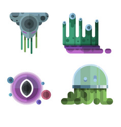 set of different funny cartoon monsters cute alien vector image vector image