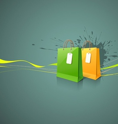 Shopping paper bag green and yellow vector image vector image
