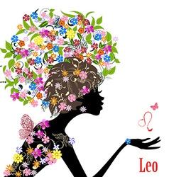 Zodiac sign leo fashion girl vector image