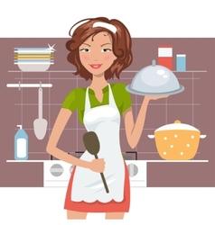Beautiful woman chef vector image vector image