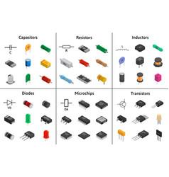 big set of izometric electronic components vector image vector image
