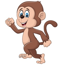 Cartoon funny monkey running isolated vector image vector image