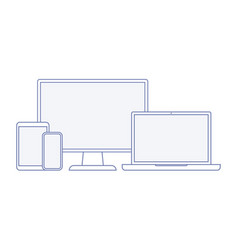 device and gadget line art set vector image