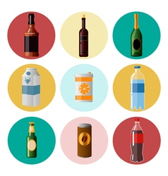 Different Beverages Drinks in Ware Icons Set vector image
