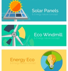 Eco-friendly energy flat design concepts banners vector image