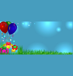 gifts on grass with balloons vector image