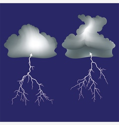 Isolated lightning and dark clouds vector image