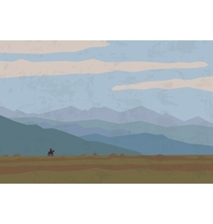 landscape travel nature mountains riders horse vector image vector image