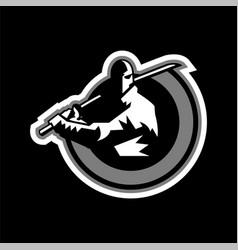 logo ninja the warrior in the shade the sword vector image