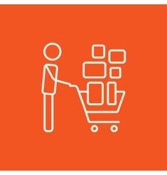 Man pushing shopping cart line icon vector image