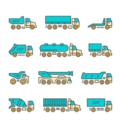 Set color line icons of trucks vector image