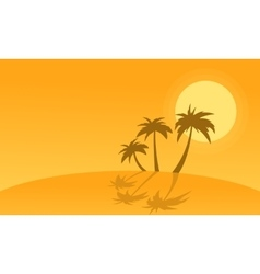 Silhouette of palm with reflection on hills vector image vector image