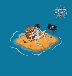 skeleton of pirate in hat on a deserted island vector image