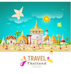 Thailand travel building and landmark vector