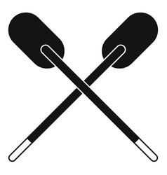 Two wooden crossed oars icon simple vector