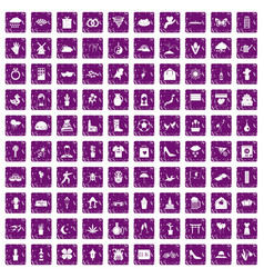 100 flowers icons set grunge purple vector image