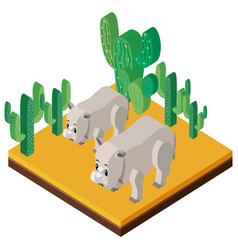 3d design for two rhinos and cactus vector image