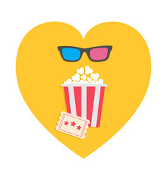 3d glasses big popcorn and ticket heart shape i vector image