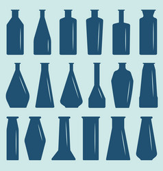 a set of glass bottles different in shape and vector image
