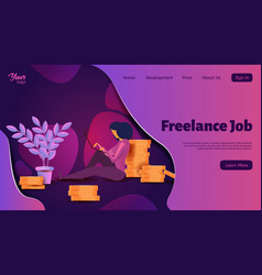 a woman freelancer works with a laptop template vector image