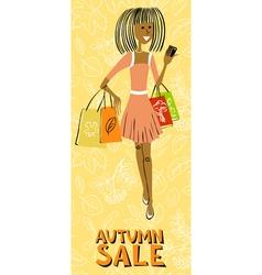 Afroamerican shopping girl character vector