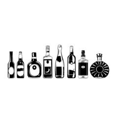 alcohol bottles set design elements isolated vector image