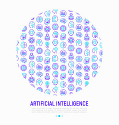Artificial intelligence concept in circle vector