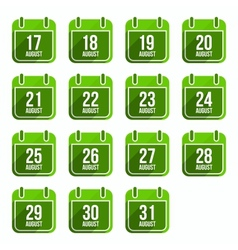 August flat calendar icons Days Of Year Set 22 vector image