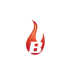 b letter flame logo vector image