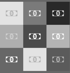 bank note dollar sign grayscale version vector image