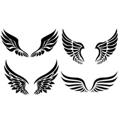 black silhouette wings emblem collection vector image